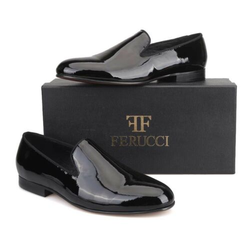 Handmade FERUCCI Men Plain Black Patent Leather  Slippers loafers Flats