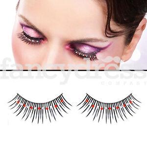382194086d7 Baci Black Eyelashes Red Silver Gems Fancy Dress New Years False ...