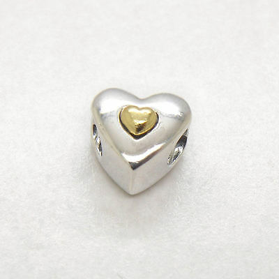 New Sterling Silver Charm 14k Gold Happy Anniversary Heart for Valentine's Day