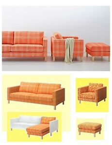 Image Is Loading IKEA Karlstad 3 Seat Husie ORANGE Sofa Ottoman