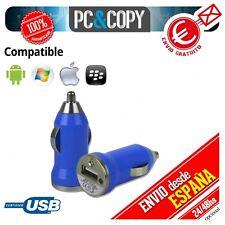 Cargador mini mechero coche USB 1A para movil tablet Azul car 12-24v 1000mA