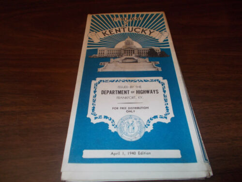 1940 Kentucky Stateissued Vintage Road Map