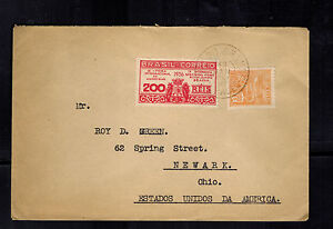 1937 Santos Brazil Registered cover to Newark OH USA Bank of Sao Paulo