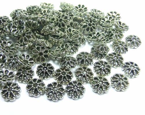 100 Perlkappen Krönchen Farbe antiksilber passend für 8mm Perlen #S492