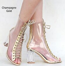 1fc59c7a9cf9 item 1 New Women FC45 Rose Gold Peep Toe Lucite Clear Heel Lace Up Booties  Ankle Boots -New Women FC45 Rose Gold Peep Toe Lucite Clear Heel Lace Up  Booties ...