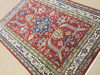 4'.8 X 6'.7 Red Beige Geometric Persian Oriental Area Rug Hand Knotted Wool