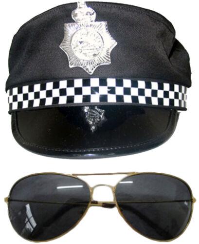 Homme policiers chapeau bretelles lunettes de soleil Checkerd tie stag night accessoires costume