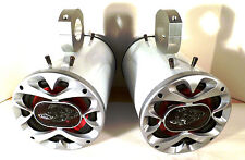 "1200 Watt BOSS Boat Wakeboard Tower Speakers ""Metallic White""  - SJS Dezign UTV"
