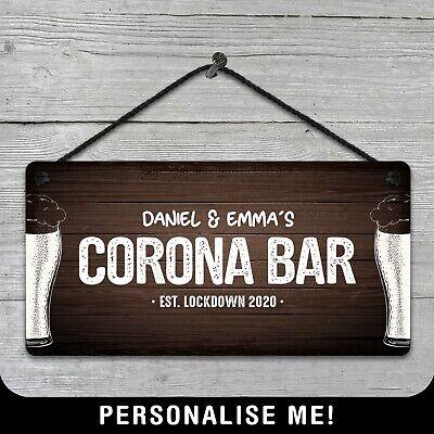 Corona sign plaque wooden sign  man cave shed bar pub