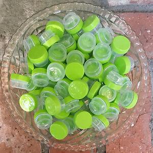 50-TINY-1-4oz-JARS-3301-Posh-Sample-Containers-Lime-Green-Caps-1tsp-DecoJars