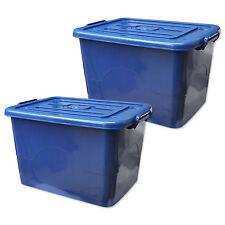 2 x Rollbox mit Deckel 95 Liter Aufbewahrungsbehälter Plastikbox blau (2x22327)