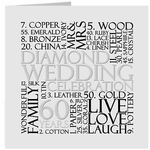 Image Is Loading Diamond 60th Wedding Anniversary Card Or Gift Tag