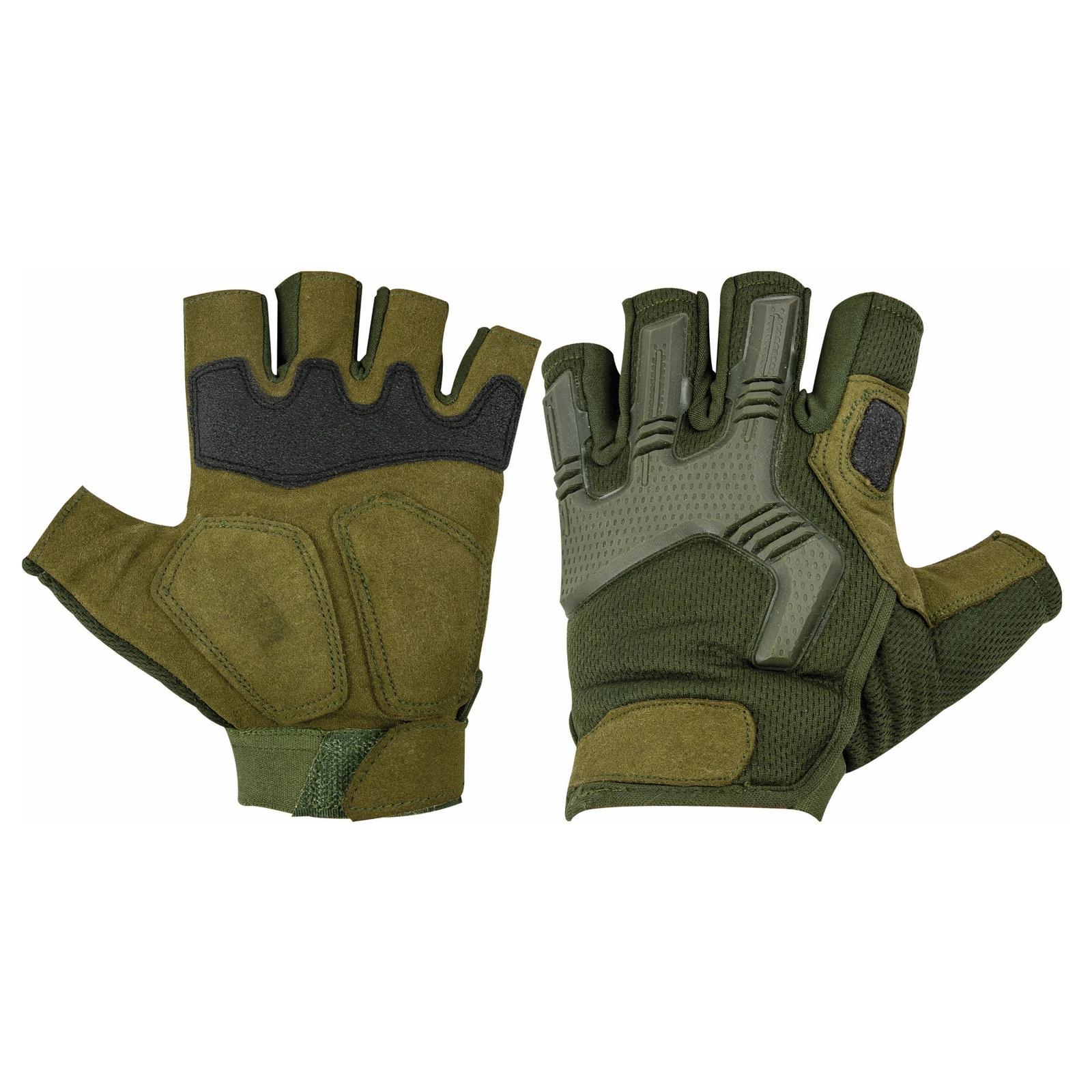 Highlander Raptor Half Finger Gloves Military Army Tactical Padded Olive Green