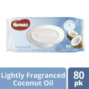 Huggies Lightly Fragranced 80 Coconut Oil Baby Wipes 1 pack