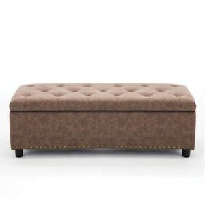 Phenomenal Details About Faux Leather 48 Storage Tufted Footrest Ottoman Rectangular Bench Rustic Brown Theyellowbook Wood Chair Design Ideas Theyellowbookinfo