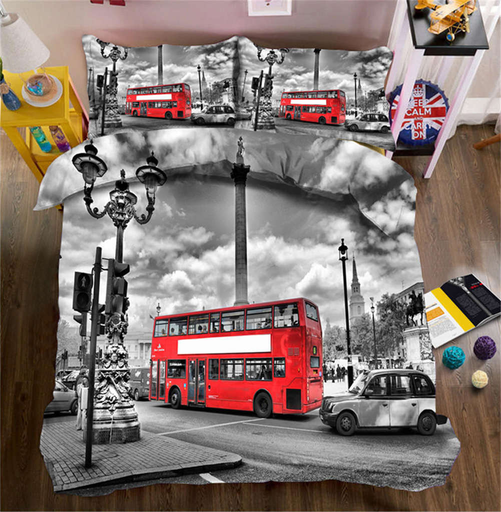 Running Red Bus 3D Printing Duvet Quilt Doona Covers Pillow Case Bedding Sets