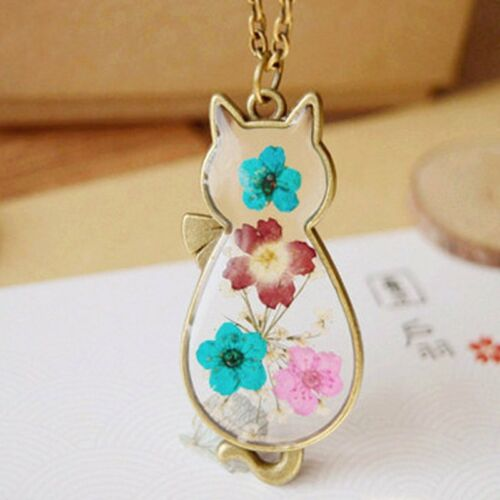 Natural Real Dried Flower Cat Sunflower Glass Pendant Necklace Womens Jewelry