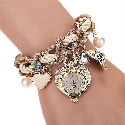Crystal Women Rhinestone Dial Stainless Steel Heart Jewelry Bracelet Wrist Watch