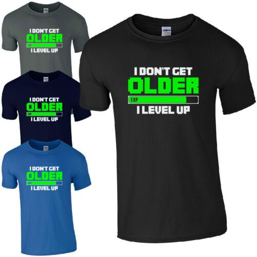 I Don/'t Get Older I Level Up T-Shirt Funny Gamers Inspired Kids Men Gift Top