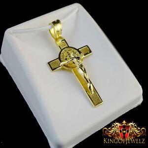 Men/'s Real Genuine Diamond Mini Crucifix Jesus Cross Pendant Charm Chain Set 10K Gold Finish