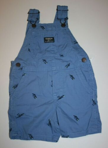 New OshKosh Boys Blue Dinosaur Embroidery Short Overalls NWT 2T 3T 4 5T VestBak