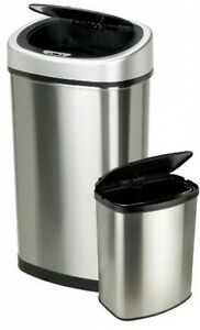 Home Garbage Can Recycling Trash Stainless Steel Kitchen Lid Touchless Bin Combo