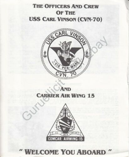 USS Carl Vinson CVN 70 US Navy Welcome Aboard Program 1986