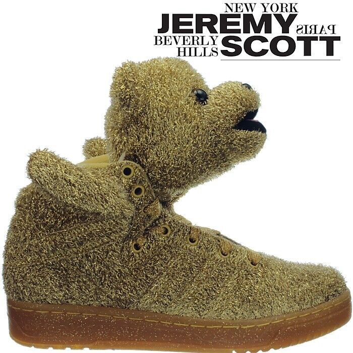 Adidas JS Bear men's shoes with bear head gold-glitter by Jeremy Scott NEW