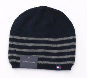 Tommy Hilfiger Blue   Gray Stripe Knit Beanie Skull Cap Men s One ... 3f6230245a1