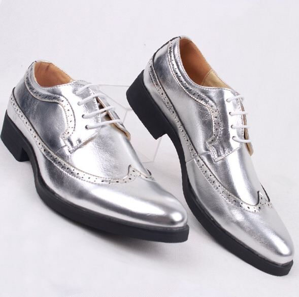 Mens Pointed Toe Wing Tip Carved Brogue Lace Up Glitter Formal Dress shoes Vogue