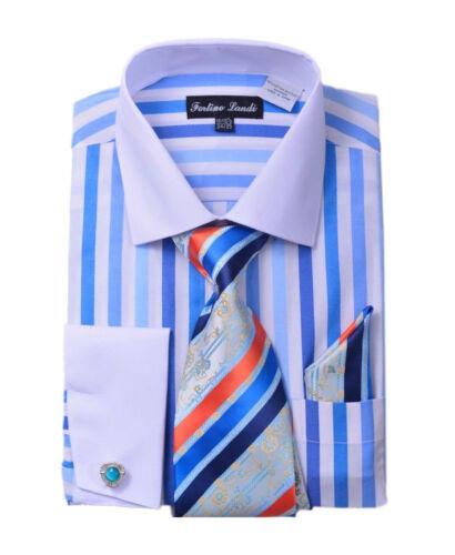 Men/'s Shirt Bold Stripes W//Tie /& Hanky Matching Color Cat Eyes Cufflinks FL-629