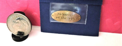 """Dollhouse Miniature Sign /""""Beware of the Cat/"""" Sign Brass"""