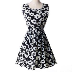 Women-Summer-Beach-Chiffon-Mini-Dress-Sleeveless-OL-Floral-Pleated-Tank-Sundress