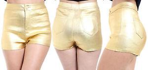 rivenditore di vendita 9b531 6e2eb Dettagli su NUOVO sexy delle donne RAGAZZE vita alta Danza montato in oro  con rivestimento in PU HOT Shorts Pantaloni- mostra il titolo originale