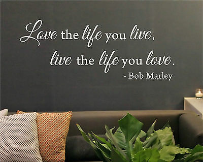 Love the Life You Live - Bob Marley Rasta Reggae Wall Decal Home Decor Sticker