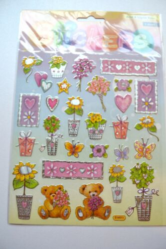 Sheet of Silver Edged Teddy//Flower//Heart Stickers NEW