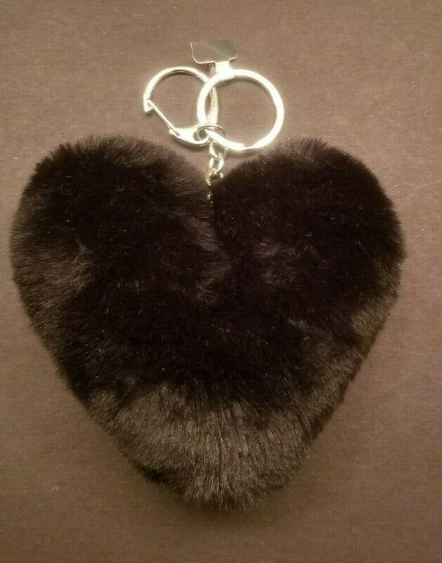 Furry Heart Shaped Keychain (black)