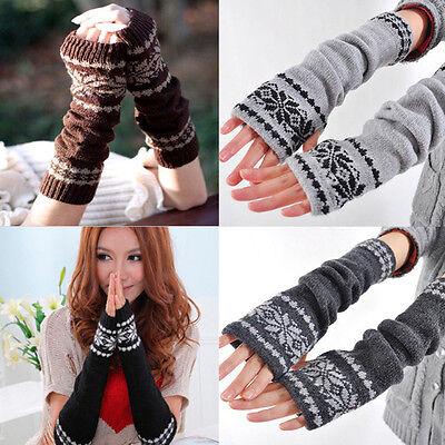 New Fashion Women Arm Hand Winter Warmer Mitten Long Fingerless Snowflake Gloves