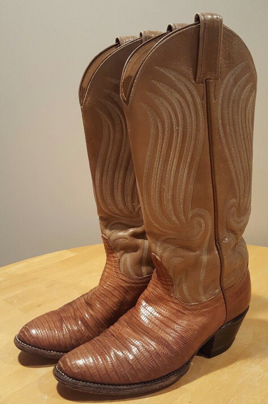 Vintage Uomo Tony Lama Western Snake Skin Leather Boots Size 6 Brown Tan