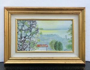 Realist-Coast-IN-Twilight-Sea-Home-Red-Roof-Blossom-Stewart-1978
