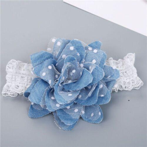Casual Baby Girl Flower Shape Headband Infants Elastic Jean Cloth Dot Hairband