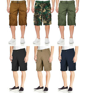 Men-039-s-Cotton-Twill-Casual-Slim-Fit-Cargo-Military-Camo-Shorts-With-Woven-Belt