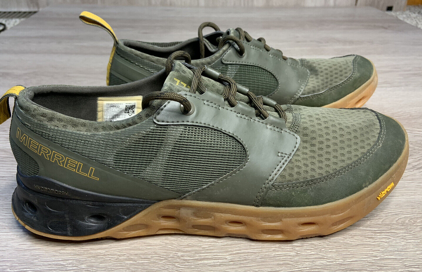 MERRELL Men's Tideriser Lace Up Low Top Sneaker Shoe Hiking Size 12 Olive