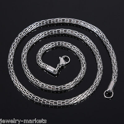 """Fashion Mens Punk Silver Stainless Steel Figaro Snake Link Chain Necklace 21.62/"""""""