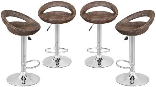 4pcs Rattan Wicker Modern Adjustable Pub Swivel Bar Stools Hydraulic Bartools