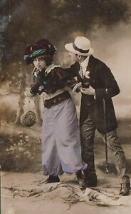 Vintage-Antique-Love-Romance-RPPC-Postcard-NPG-Fashionable-Coiuple-Tinted