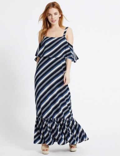 New M/&S Collection Blue Striped Cold Shoulder Maxi Dress Sz UK 10 14 reg petite