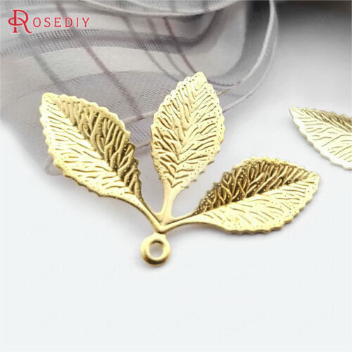 20PCS 31x23MM 24K Gold Color Brass Tree Leaf Leaves Charms Pendants Accessories