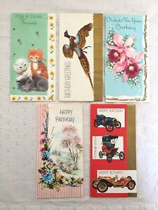 Lot-of-5-Vintage-Greeting-Cards-Happy-Birthday-Paper-Cards-Unused-No-Envelopes