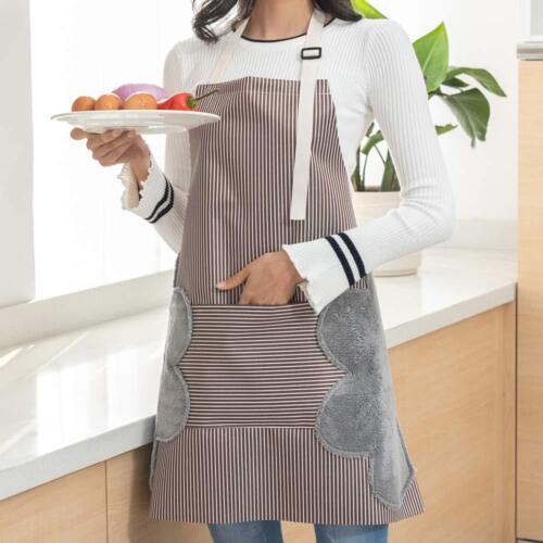 Bib Apron with Pocket 2 Towels Hand wipe Apron Adjustable Strap Home Kitchen BBQ